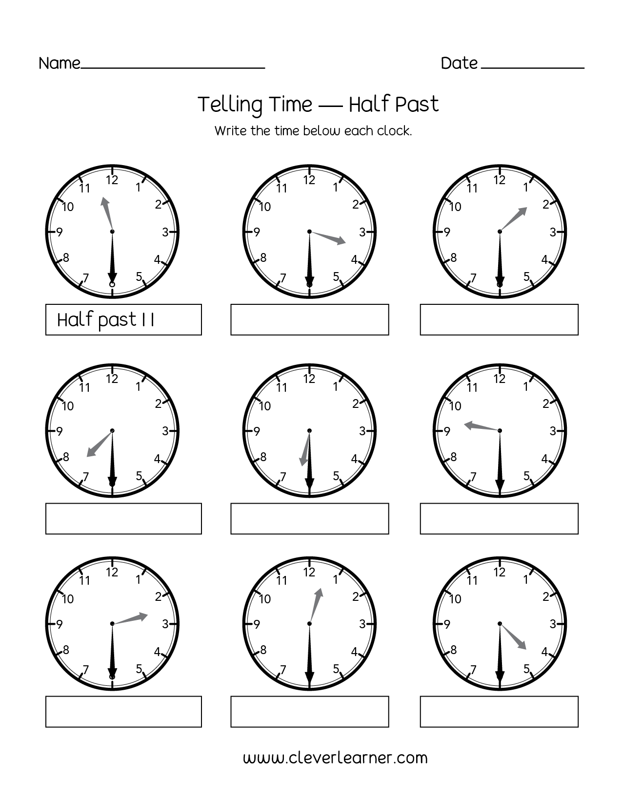 Printables Of Telling Time To Half Hour