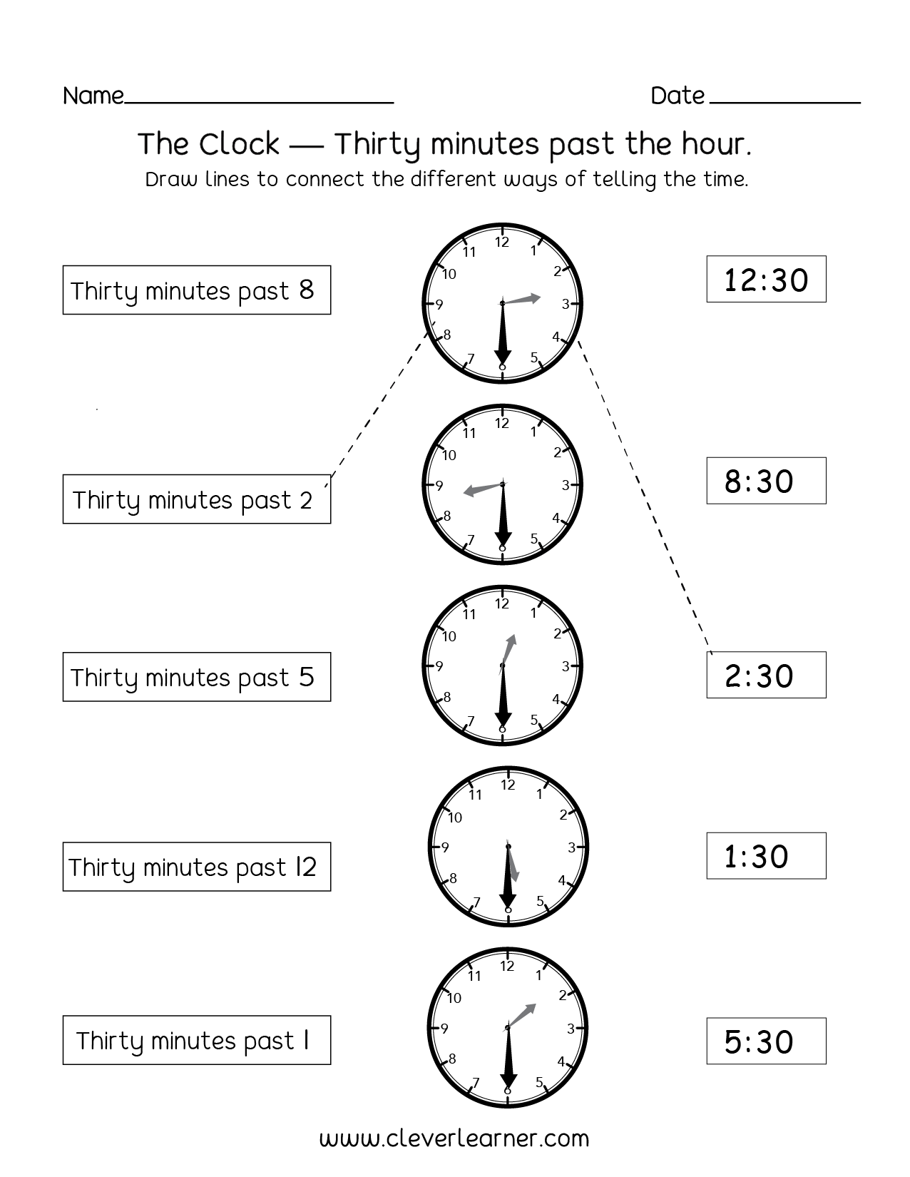 hight resolution of Telling time half past the hour worksheets for 1st and 2nd graders
