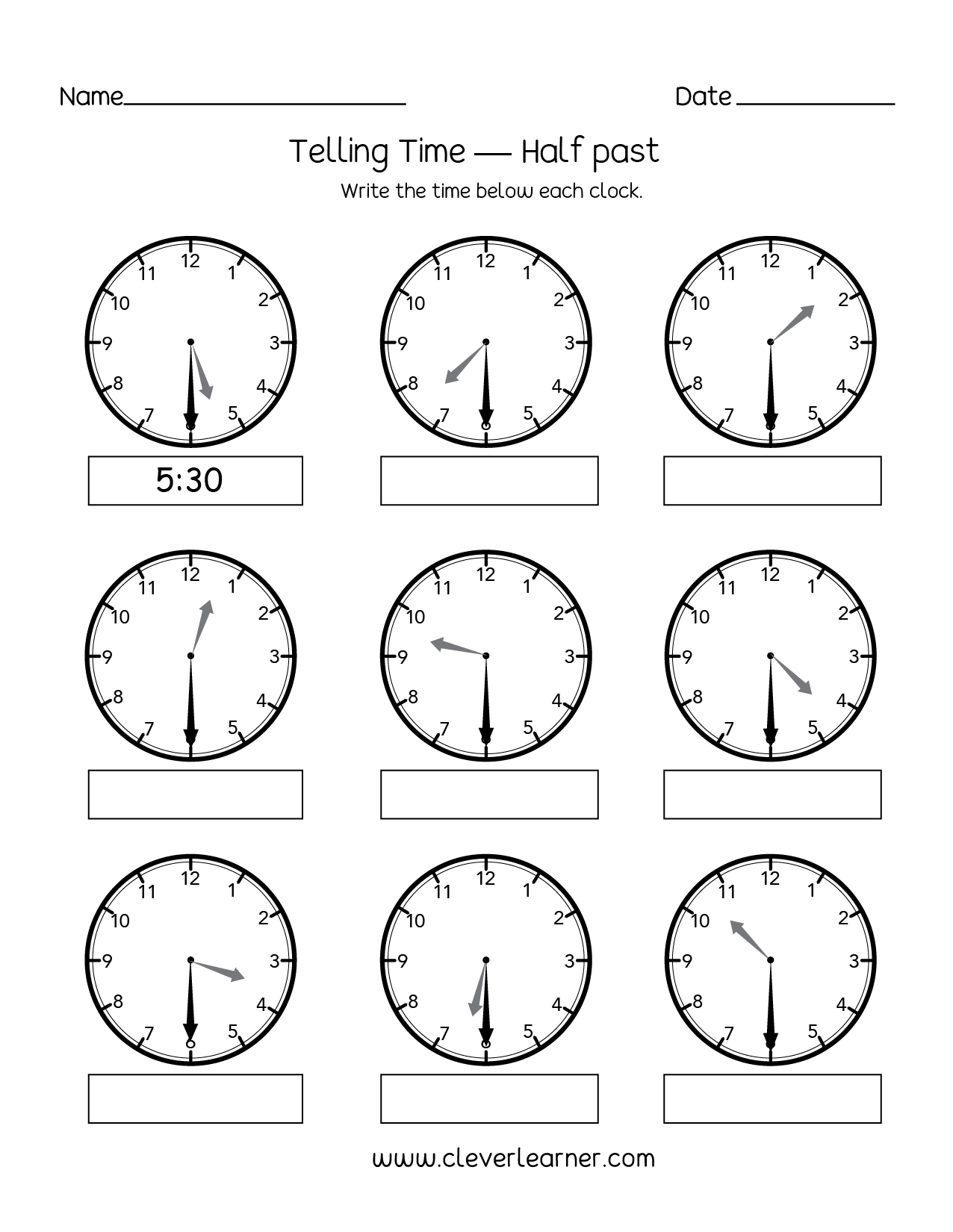 Telling Time For 2nd Graders