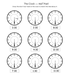 Telling time half past the hour worksheets for 1st and 2nd graders [ 1650 x 1276 Pixel ]