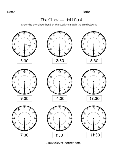 small resolution of Telling time half past the hour worksheets for 1st and 2nd graders