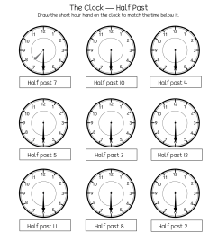 Telling time half past the hour worksheets for 1st and 2nd graders [ 1650 x 1275 Pixel ]