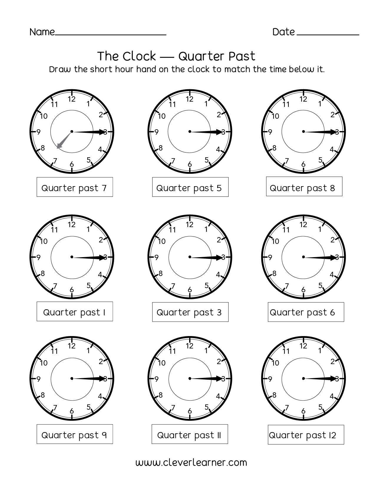 Telling Time Quarter Past The Hour Worksheets For 2nd Graders