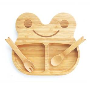 Bamboo Plate and Cutlery - Frog