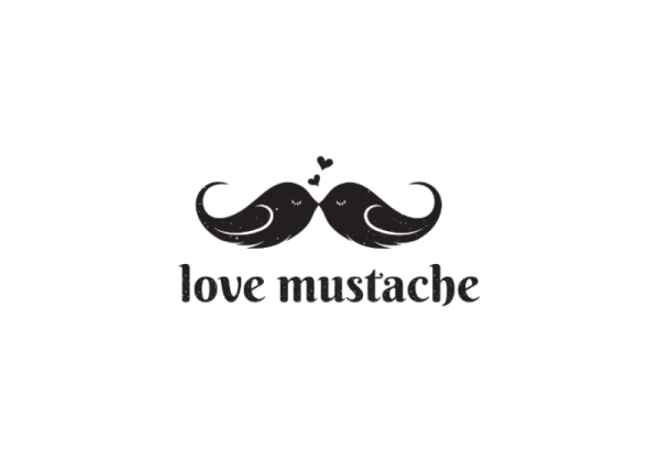 love mustache logo by omar yahia