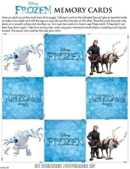 Disney's Frozen Memory Card Set (6 pages)