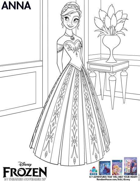 Movie: Disney Frozen activity page available for Download (Anna Coloring Page)