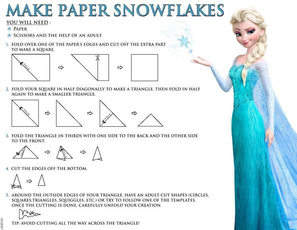 Movie: Disney Frozen activity page available for Download (Make Paper Snowflakes)