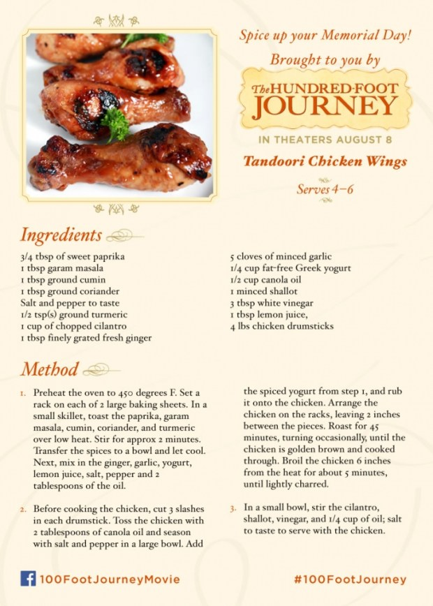 Tandoori Chicken Wings from the movie 100 Foot Journey