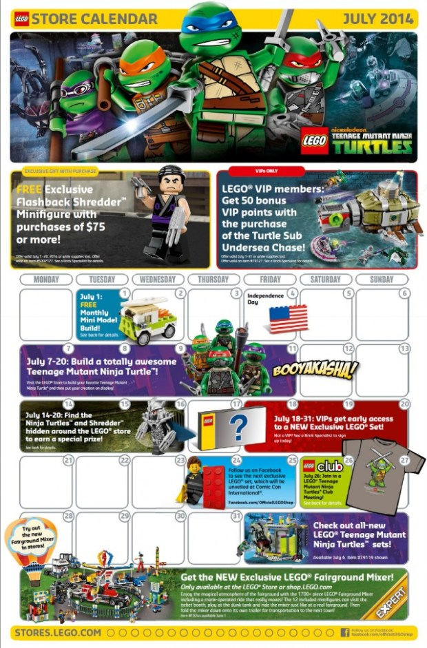 Lego Monthly Event Calendar July 2014 (Mini build - July 1, 2014) via CleverlyChanging.com