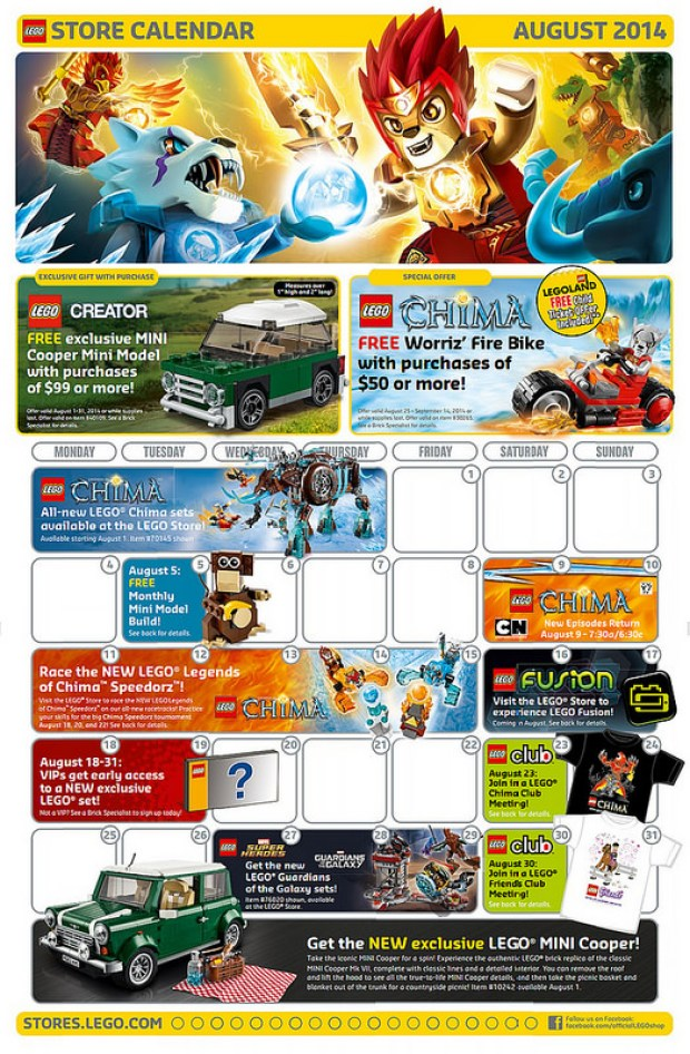 August 2014 Lego Events Calendar