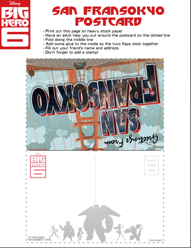 Big Hero 6 San Fansokyo Postcard #kids #free #activity via @CleverlyChangin