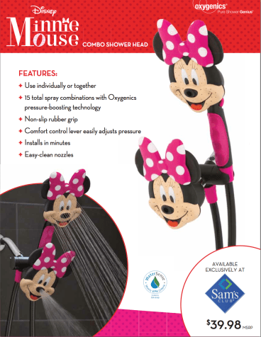 """Oxygenics Disney """"Minnie Mouse"""" Shower Head #kids #gifts #review via @CleverlyChangin"""