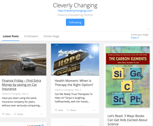 Follow Cleverly Changing on Bloglovin