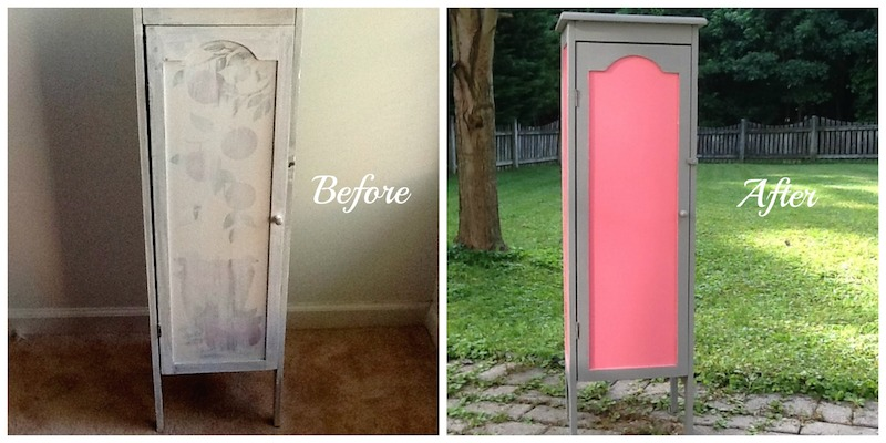 Upcycled Pink and Gray Cabinet