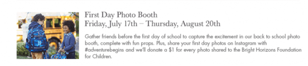 First Day Photo Booth: Low Cost or Free 2015 Summer Activities