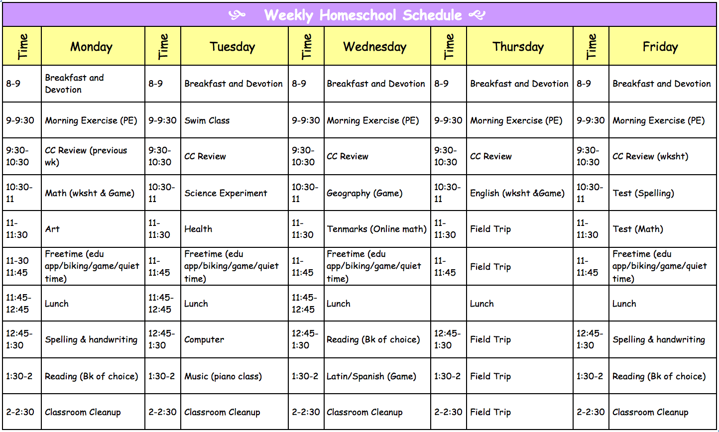 Homeschooling With Love Our Homeschool Schedule