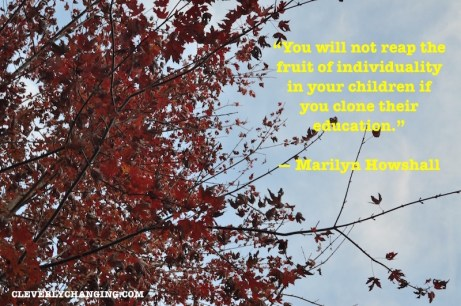 """Homeschool #Quote: """"You will not reap the fruit of individuality in your children if you clone their education."""" ― Marilyn Howshall"""