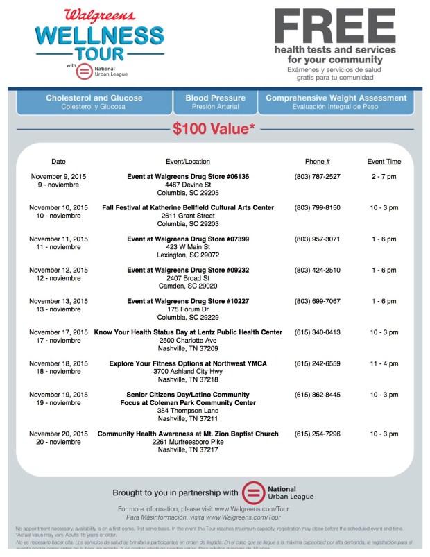 Health Tour Nov 9-Nov 20Walgreens #WellnessTour