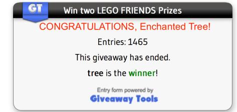 Giveaway Winner Congratulations