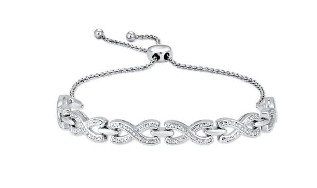 Sterling Silver 1:10 Ct.Tw.Diamond Bolo Bracelet