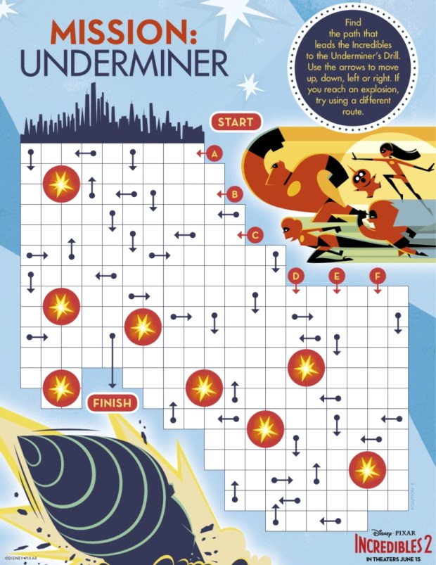 Incredibles2 Mission Underminer Activity Sheet