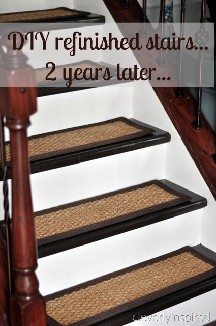 Diy Refinished Stairs How They Have Held Up Cleverly Inspired   Staircase Refinishing Near Me   Basement   Restaining   Brown Stained   White Riser   Grey Flooring
