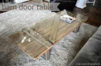 Barn door becomes coffee table - Cleverly Inspired
