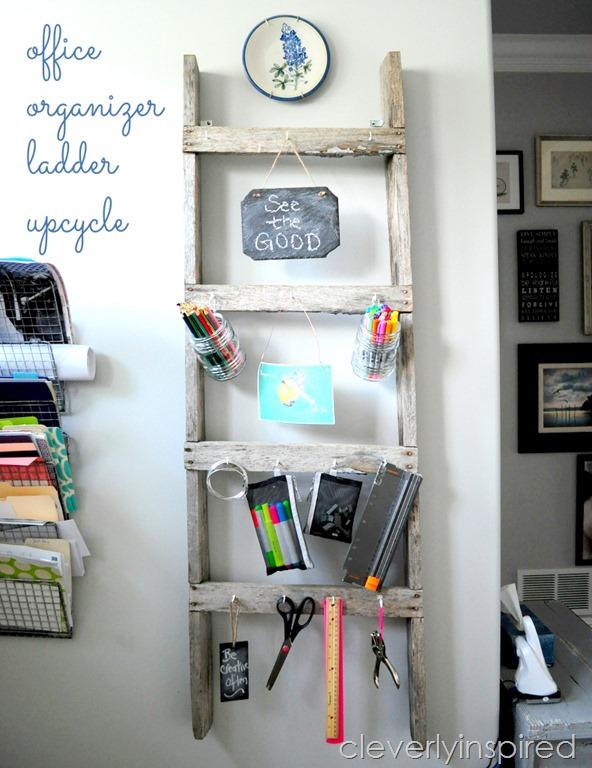 Repurposed Ladder into Office Organizer
