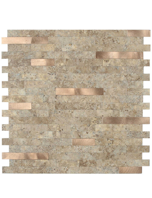 easy peel stick marble stone tile with brushed copper mixed mosaic 5pcs per pack