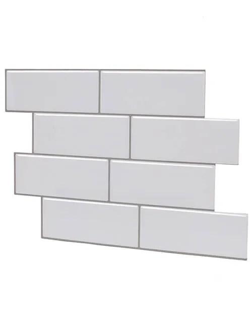 vinyl sticky tile upgrade thicker white subway design cm81702 6pcs pack