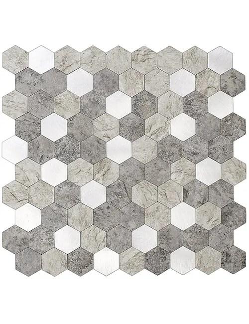 3d peel and stick stone hexagon tile backsplash 5pcs per pack