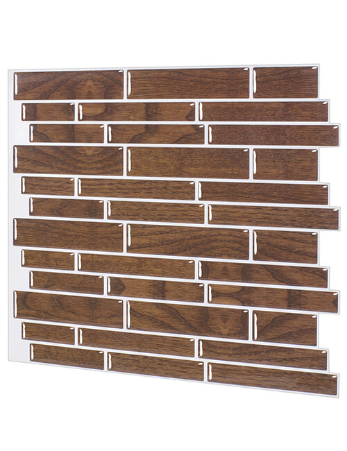 peel stick faux wood backsplash