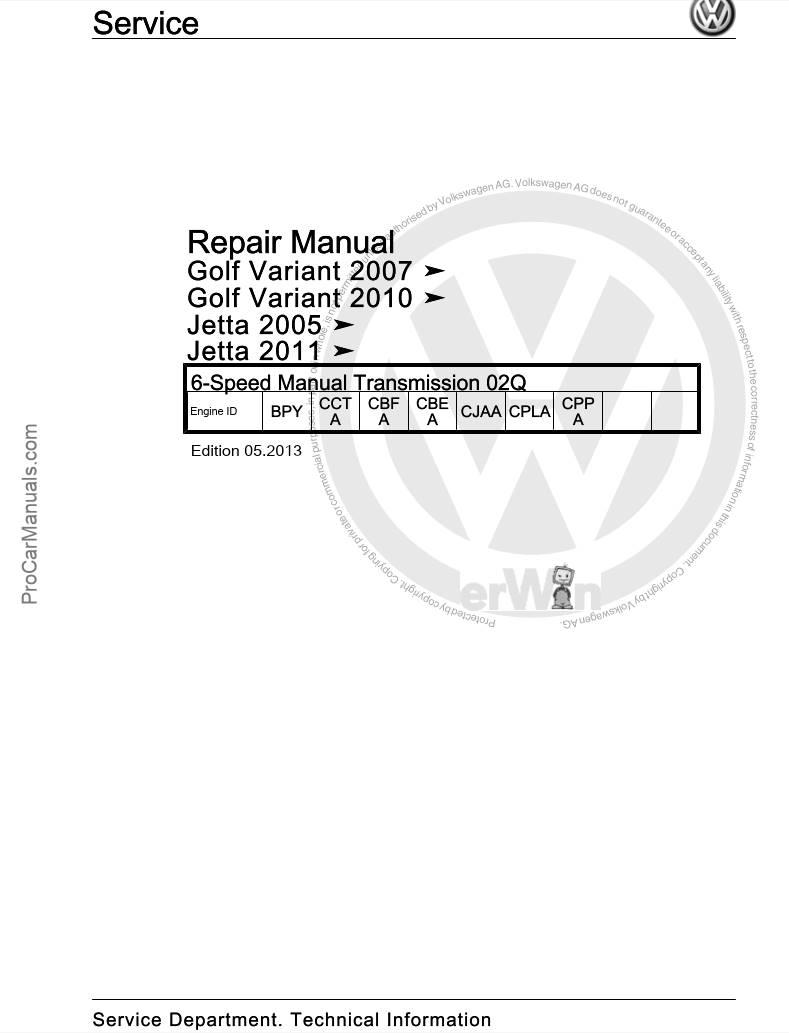 Car Manuals Free Download Vw Gli 6 Spd Transmission Code