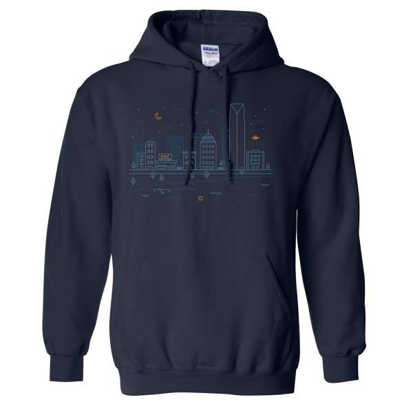 OKC Cityscape Hoodie Navy Front