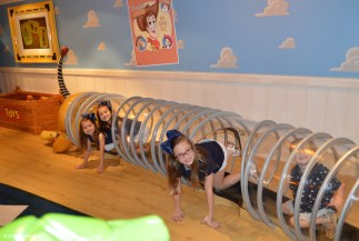 In the Slinky Dog crawl in Andy's Room