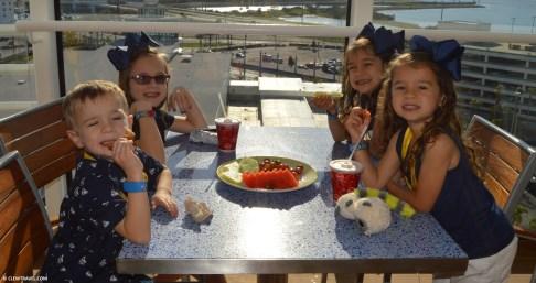 The kids enjoying a snack