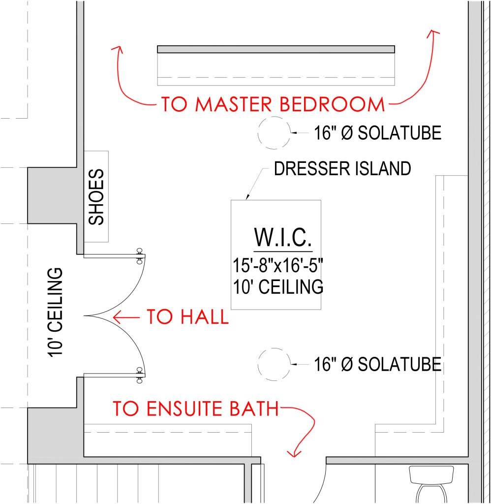 blueprint of large walk in closet