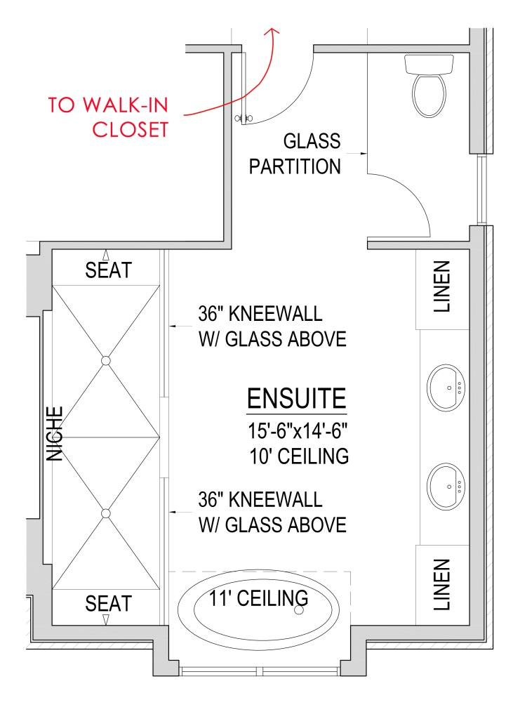 plan view of a large ensuite with two person shower and toilet behind a frosted glass partition