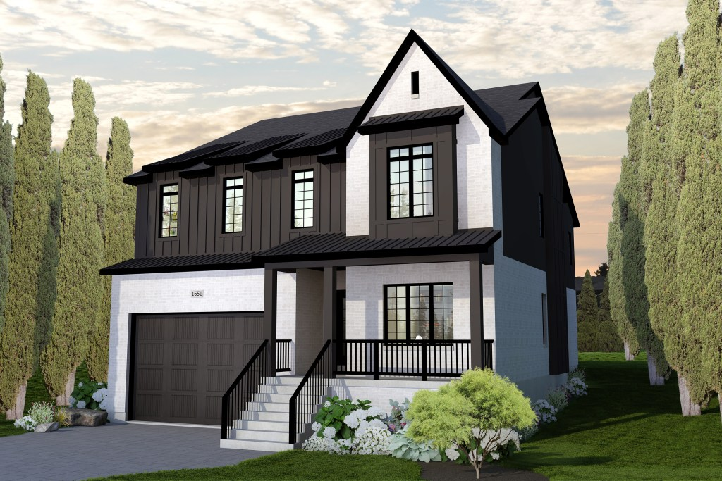 rendering of white brick with charcoal siding