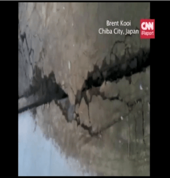 Liquification in Chiba City Japan as a result of Japan Earthquake 2011