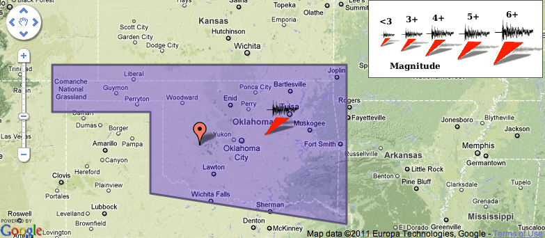Earthquake Tremors and Reports in Oklahoma 11-5-11 — Ceiling Shook Felt Earth Move