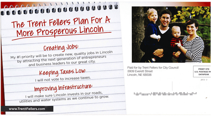 """Trent Fellers """"Now Hiring"""" Campaign Mailer April 2013 Address side"""
