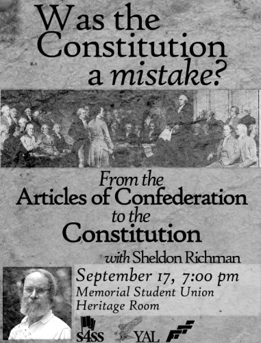 Constitution Day Event with Sheldon Richman on Sep 17th at Oklahoma Memorial Student Union