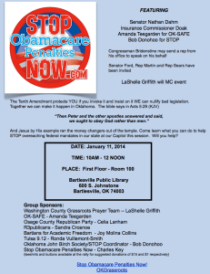 STOP Obamacare Penalties NOW Rally in Bartlesville on Saturday Jan 11th!