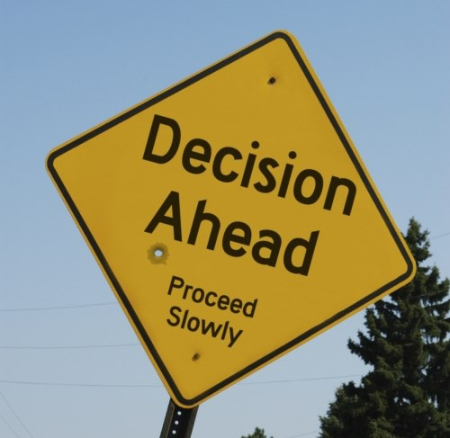 decision ahead sign