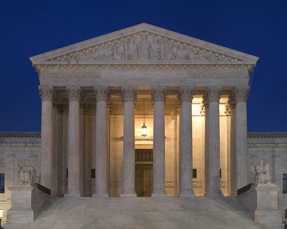 U.S. Supreme Court Building at dusk