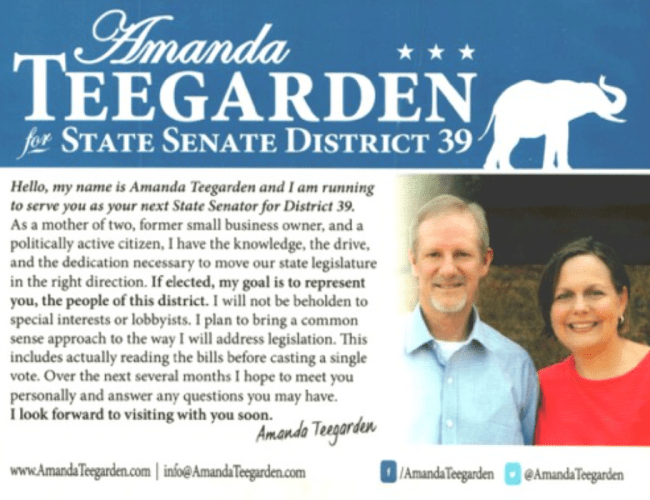 Amanda Teegarden for State Senate District 39 — A Great Lady with Wisdom for our Time