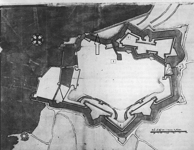 Pianta del perimetro di Livorno nel 1610 CliccaLivorno