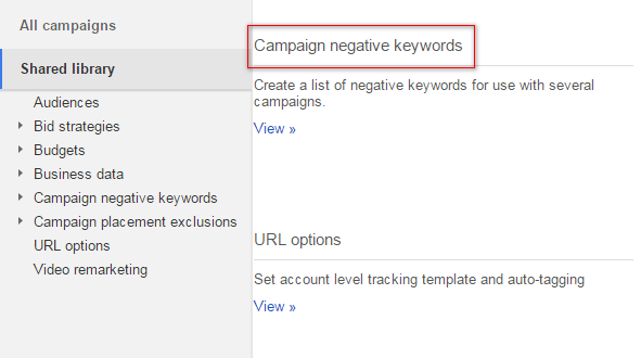 negative keywords lists
